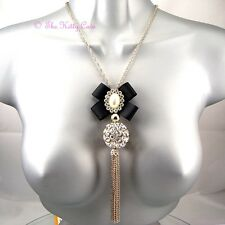 Deco Vintage Black Silk Bow Gold Tassels Long Necklace w/ Swarovski Crystal Ball