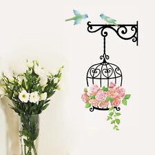 Wandtattoo Vogelkäfig Vogel Blumen Wandaufkleber Sticker Wohnzimmer Garten Deko