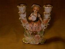Vintage Japan Double Candlestick Holder w Sitting German Girl-Young Lady-Gold