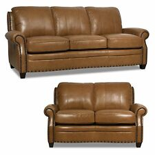 "New Luke Leather 2 Piece Sofa Set ""Bennett""  Wheat Brown Leather Sofa & Loveseat"