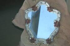 Vintage Venetian Flowers Ornate Large Vanity Mirror Easel Back Ghost Glass