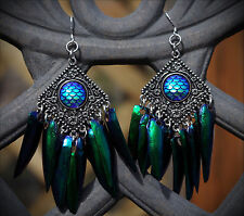 REAL Jewel Beetle Wing Mermaid/Dragon Hand Made Earrings Oddities/Weird/Goth/Alt
