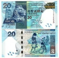 HONG KONG $ 20 HSBC 2012 UNC P 212 NEW