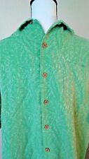 Caribbean Joe Mens' Hawaiian Shirt Green Size xl Jacquard Print Bamboo Silk 100%