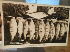 Vintage Old MICHIGAN Postcard Edmore Fishing Pole Rod Reel Real Photo Picture #1