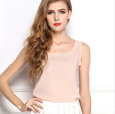 Fashion Ladies Summer Loose Casual Chiffon Vest Sleeveless T-shirt Top Blouse