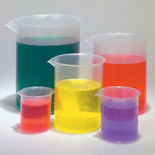 Labs Plastic Beakers Set Measuring Cups - 5 Sizes - 50, 100, 250, 500 and 1000ml