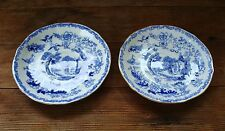 2 Royal Albert Crown China ** Saucers ** BLUE WILLOW ** Made in England **