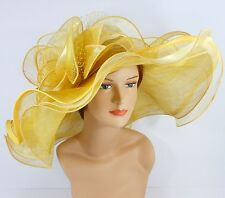 New Woman Church Kentucky Derby Wedding Sinamay 3 Layers Dress Hat 3034 Mustard