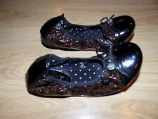 Girl's Size 3 Lucky Brand Patent Leather Brown Black Ballet Flats Slip On Shoes