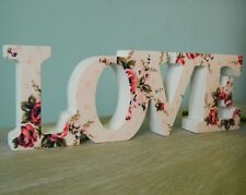 Wooden Floral Love Sign Plaque Shabby Home Accessory Wedding Gift Vintage Chic