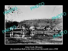 OLD LARGE HISTORIC PHOTO OF LINN CREEK MISSOURI, STEAMBOAT AT THE STORE c1908