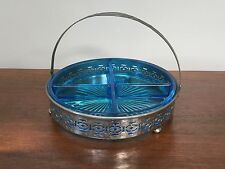 Depression Glass BLUE DIVIDED RELISH/CANDY DISH with Silver Handled Caddy