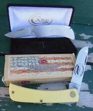 LOT 2 CASE XX 3137 CV SOD BUSTER YELLOW HANDLE FOLDING POCKET KNIFES KSPMA KY