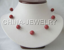 "P772-18"" 925 silver chain + 10mm natural round red coral necklace-925 silver cla"