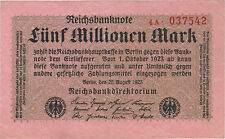 1923 5 MILLION MARK GERMANY CURRENCY REICHSBANKNOTE GERMAN BANKNOTE NOTE BILL