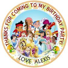 Personalised  Princess & pirates  50mm  Party Thank You Seals 15 Stickers