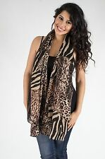 Animal Print Zebra and Leopard Spotted Scarf, Black/Brown color  beach scarf