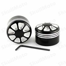 Black CNC Edge Cut Aluminum Front Axle Nut Cover Bolt Kit For Harley Dyna XL 883