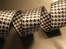 1m Black White DogTooth Check Wired Ribbon Cakes, Bows, Gifts, Decorations