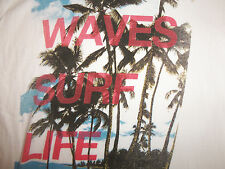 "Red Camel ""Waves. Surf. Life."" Beach Ocean Palm Tree White Graphic T Shirt - L"