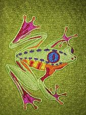 Embroidered Green Kitchen Bar Hand Towel HS0331 CARIBBEAN FROG COLORFUL