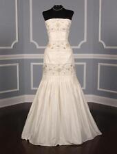 AUTHENTIC Anne Barge LF132 B Ivory Silk Taffeta Wedding Dress 6 RETURN POLICY