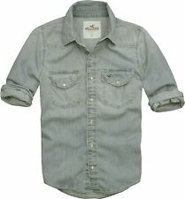 Mens Hollister Muscle Fit Distress Denim  Shirt By Abercrombie Mid Wash Size M