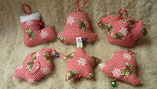 SET OF 6 LARGE FABRIC HAND MADE CRAFTED CHRISTMAS DECORATIONS BIRDS BELLS STAR