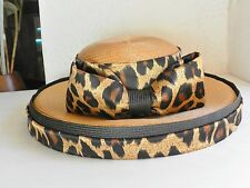Wide Brimmed Straw  Hat Leopard Church Derby Cat Woman Costume