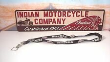 LANYARD ID Badge Key Holder American INDIAN Motorcycles Black Logo Licensed   X2