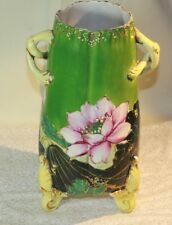 """VTG Unmarked NIPPON? Porcelain Pottery Vase Unusual Handled Gold Footed 9"""" tall"""
