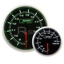Prosport 52mm Super Smoked Green / White DC Voltage 8-18v Gauge