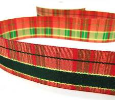 "2 Yds Christmas Double Faced Plaid Metallic Ribbon 1 3/8""W"