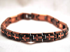 UNISEX 8 INCH HEALING MAGNETIC THERAPY LINK BRACELET: Copper Crosses; For Pain!