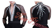 #M246 M size Ballroom Men Latin Salsa Dance Competition Shirt Black Mesh Sleeve