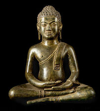 Antique 19th Century Southeast Asia Thai Meditation Buddha Statue - 34cm/14""