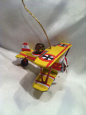 COLLECTIBLE RETRO AIRPLANE TIN TOY WITH PILOT PUSH ACTION OR CAN HANG #31