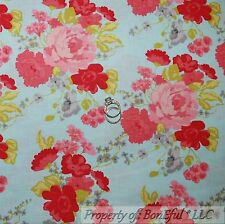 BonEful Fabric FQ Cotton Quilt Blue Pink Red Green Gray FLOWER Shabby Chic Retro