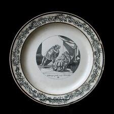 1820 ASSIETTE CHOISY PAILLARD HAUTIN GRISAILLE ANTIQUE TELEMAQUE IDOMENEE