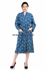Indian Cotton Block Printed Sexy Bath Robe Hippie Kimono Casual Sleepwear Dress