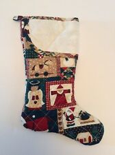 """Aida Cross Stitch Christmas Stocking Quilted Fabric 17"""" Country Patchwork Craft"""