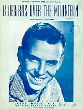 JOHNNY REBB - BLUEBIRDS OVER THE MOUNTAIN - RARE VINTAGE SHEET MUSIC - AUSTRALIA