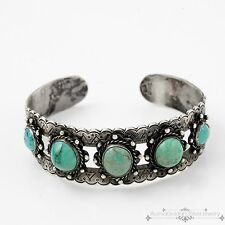 Vintage Native Pawn Sterling 900 Coin Silver Taxco Mexican Turquoise Bracelet