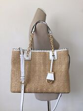 Michael Kors Optic White Leather Natural Straw Rosalie Large EW Tote Crossbody