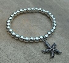 Starfish Charm Bracelet 6mm Silver Ball Beaded Surfer Stretch Tibetan