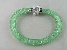 20cm MESH CRUSHED CRYSTAL GREEN BRACELET W/ MAGNETIC PAVE CRYSTAL LOCK  # 001