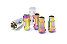 MUTEKI SR48 M12x1.5 NEON NEO CHROME TUNER WHEEL LOCK LOCKING NUTS SET OF 4 Z1796