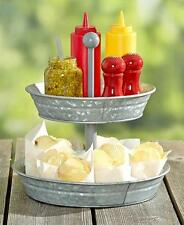 2 Tier Galvanized Serving Tray Outdoor Country BBQ Party Round Snack Stand NEW