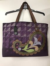 NWT JIM SHORE LENA LINEN COTTON LEATHER TOTE BAG PURPLE 4018102 BRAND NEW TAGS
